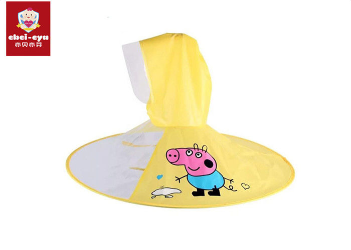 Transparent Childrens Waterproof Raincoats Peppa Pig Shape Kids Umbrella Cap
