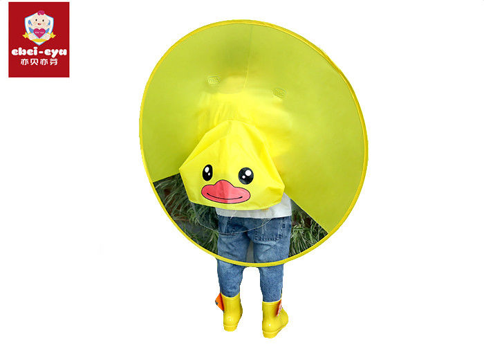 Multi Sizes Childrens Rain Poncho Yellow Duck Environment Material Waterproof