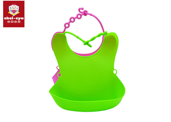 Anti - Bacterial Toddler Dribble Bibs , Multifunctional Soft Silicone Bib Easy To Clean